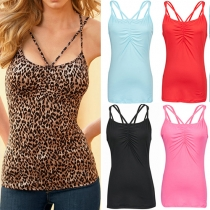 Fashion Sexy Solid Color Chest Wrap Render Tank Tops