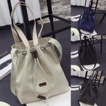 Fashion Solid Color Canvas Drawstring Bucket Shoulder Bag
