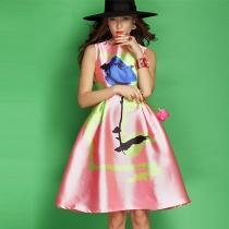 Sweet Rose Print Sleeveless Round Neck High Waist Dress