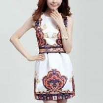 Retro Floral Print Sleeveless Round Neck Slim Fit Dress