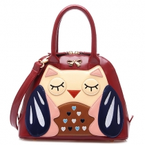Cute Owl Pattern Shell-shaped Handbag Shoulder Messenger Bag