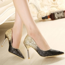 Fashion Color Gradient Pointed Toe Sequins Stiletto Shoes