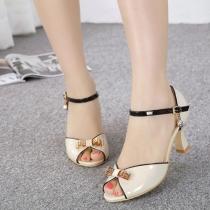 Fashion Bowknot Peep Toe Thick High Heeled Sandals