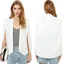 Fashion Solid Color Irregular Long Sleeve Chiffon Blazer