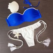 Bikini con Bandeau con Relleno y Aro + Brasileña de Tiras