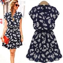 Fashion Bat Sleeve V-neck Gathered Waist Palm Leaves Print Dress