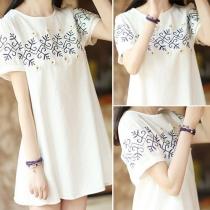 Fresh Style Embroidered Flowers Short Sleeve Round Neck Dress