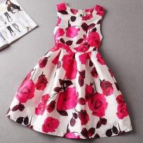 Sweet Floral Print Sleeveless Round Neck High Waist Dress