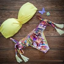 Sexy Bikini con Bandeau con Braga Estampada con Borlas
