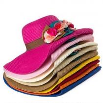 Fashion Folded Wide Brim 3D Flowers Sunscreen Straw Hat