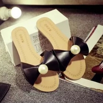 Fashion Flat Heel Pearl Bowknot Sandals Slippers