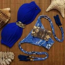 Bikini con Bandeau Estampado
