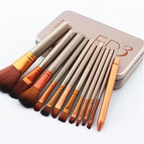 12 PCS Professional Makeup Brush Set with Tin Box