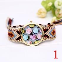 Reloj de Cuarzo Colorido de Banda Tejida