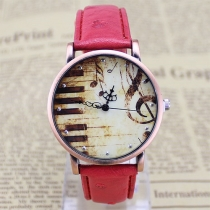 Retro PU Leather Watch Band Piano Pattern Round Dial Quartz Watches