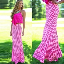 Fashion High Waist Wave-stripe Maxi Skirt