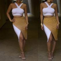 Sexy Backless Crop Tops + Contrast Color Irregular Bust Skirt Set