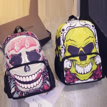 Vintage Skull Head Pattern Canvas Backpack School Bag