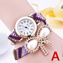 Reloj con Colgante de Lazo de Rhinestone