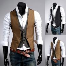Fashion Contrast Color Slim Fit Mock Two-piece Men Vest