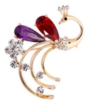 Fashion Rhinestone Crystal Peacock Shaped Brooch