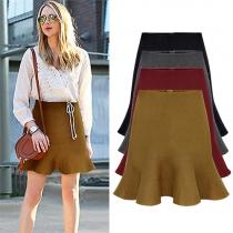 Elegant Solid Color High Waist Flouncing Hem Umbrella Skirt