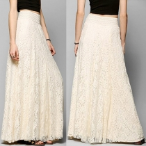 Elegant Solid Color High Waist Hollow Out Lace Maxi Skirt