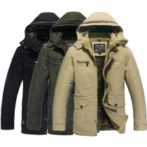 Fashion Solid Color Long Sleeve Hooded Man's Overcoat