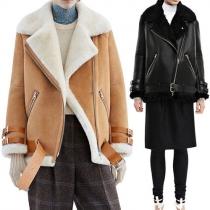 Fashion Long Sleeve Lapel Oblique Zipper Faux Suede Coat