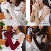 Fashion Faux Fur Spliced Fingerless Long Knit Gloves