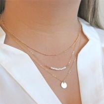 Collar Multi con Colgante de Perlas Sintéticas