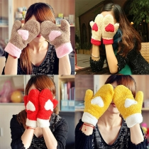 Sweet Candy Color Warm Plush Mittens Gloves