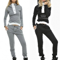 Fashion Long Sleeve Turtleneck Irregular Hem Hooded Tops + Pants Sports Suit