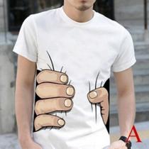 Camiseta Estampado de 3D Para Hombre de Escote Redondo Manga Corta