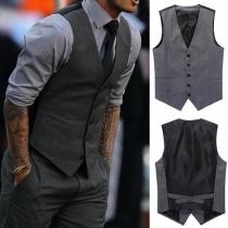 Fashion Contrast Color Men's Suit Vest