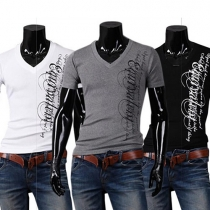 Fashion Letters Printed Short Sleeve V-neck Men's T-shirt
