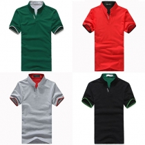 Fashion Solid Color Short Sleeve Stand Collar Men's T-shirt