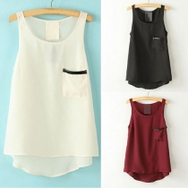 Fashion Solid Color Sleeveless Round Neck High-low Hem Chiffon Tops