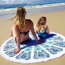 Toalla Redonda Estampado Geommétrico con Flecos Para Playa
