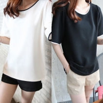 Casual Style Round Neck Half Sleeve Loose-fitting T-shirt