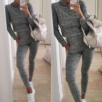 Casual Style Long Sleeve Hooded Crop Tops and Pants Two-piece Set