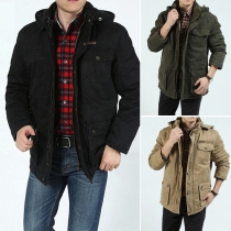 Fashion Solid Color Front Zipper Long Sleeve Hooded Men's Warm Padded Coat