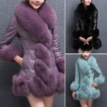 Elegant Solid Color Artificial Fur Collar Long Sleeve PU Overcoat