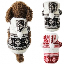 Chaqueta Acolchada Con Capucha para Perros con Estampado de Copo de Nieve