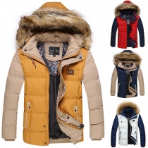 Fashion Contrast Color Front Zipper Hooded Long Sleeve Men's Warm Padded Coat