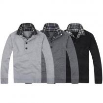 Trendy Lattice Spliced Double-layer Collar Long Sleeve Slim Fit Men's Sweater