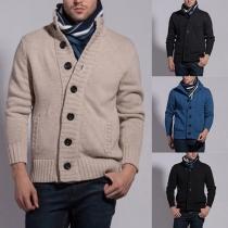 Suéter de Punto de Botones Escote Alto Para Hombre
