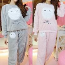 Pijama Caliente con Estampado de Búbo de Escote Redondo Manga Larga