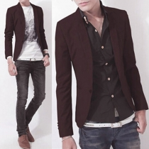 Fashion Solid Color Long Sleeve Men's Blazer
