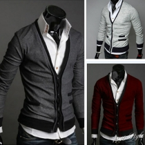 Fashion Solid Color Long Sleeve V-neck Knit Cardigan